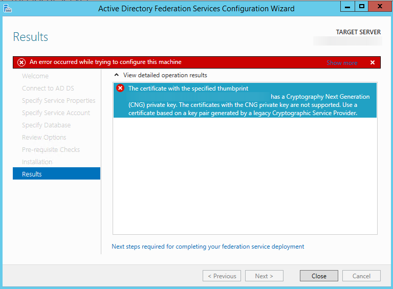 ADFS 3 0 in Windows 2012 R2: Self Signed Certificate