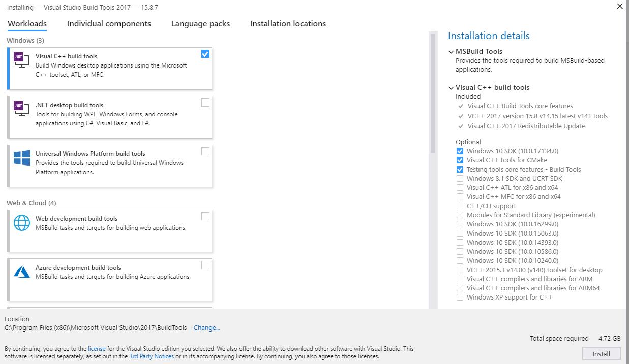 Visual C++ Build Tools silent installation – Dimitri's Wanderings